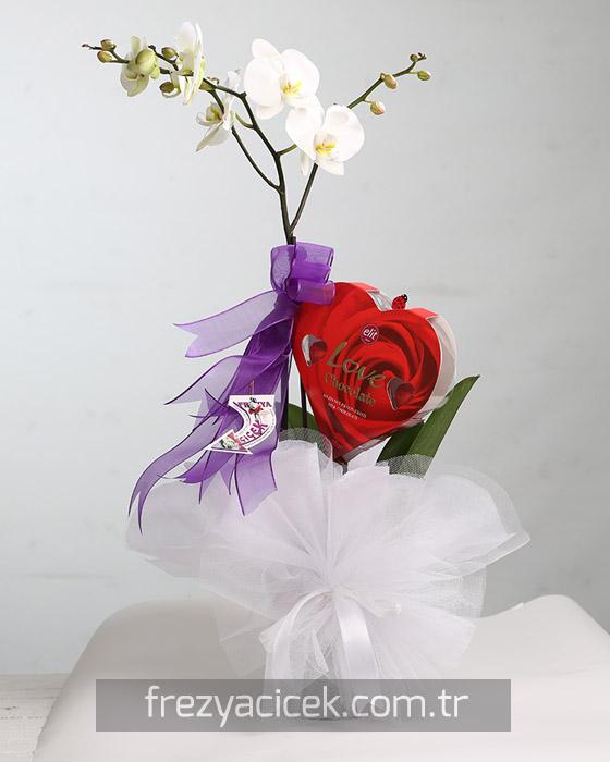 Beyaz Orkide ve Kalp Çikolata